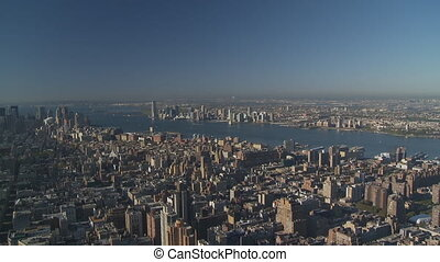 pan shot from hudson over manhattan - pan shot from hudson...