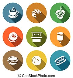 Vector Set of Street Fast Food Icons - Outlet for the sale...