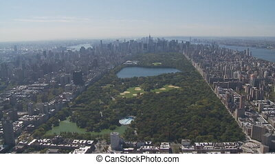 aerial view central park part III - aerial view east river,...