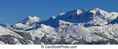 Snow covered mountains in the Bernese Oberland - View from...