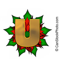 Alphabet Christmas Poinsettia U