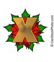Alphabet Christmas Poinsettia X