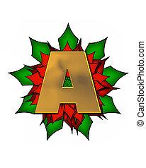 Alphabet Christmas Poinsettia A