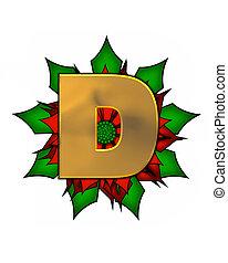Alphabet Christmas Poinsettia D