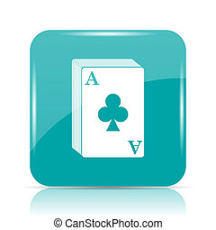 Deck of cards icon Internet button on white background