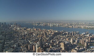pan shot from new jersey over manhattan - pan shot from new...