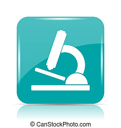 Microscope icon Internet button on white background