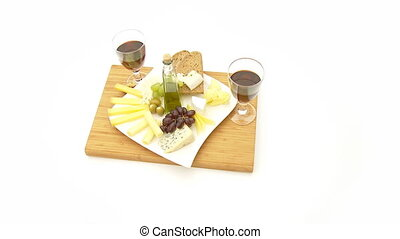 snack plate with wine