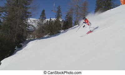 camera following skier - camera following female skier