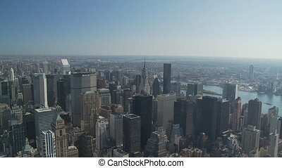 pan shot from empire state over upper manhattan part II -...