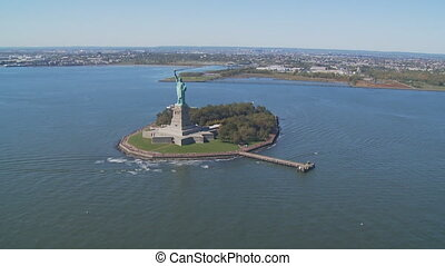 aerial view statue of liberty part IV - aerial view upper...