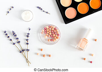 cosmetic on white background with lavender top view -...