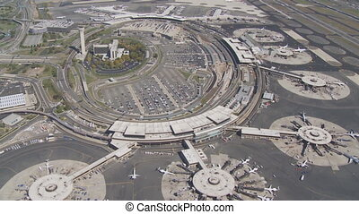 aerial view over airport - aerial view newark airport