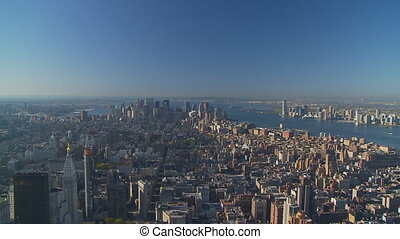 morning pan shot manhattan - pan shot manhattan hudson river...