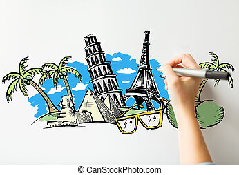 close up of hand drawing touristic landmarks - people,...