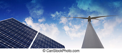 Eco Energy - Windmill and Solar panel against cloudy sky