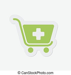 simple green icon - shopping cart plus - simple green icon...