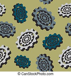 abstract colored cogwheels - seamless pattern