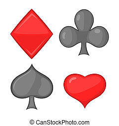 Card suits icon, cartoon style - Card suits icon in cartoon...