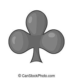 Card suit clubs icon, cartoon style - Card suit clubs icon...