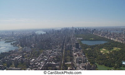 aerial view central park part I - aerial view east river,...