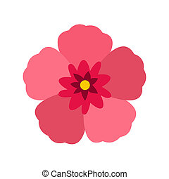 Rose of Sharon icon, flat style - icon in flat style on a...