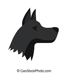 Doberman dog icon, flat style - Doberman dog icon in flat...