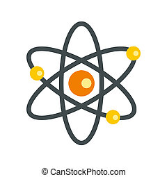 Atom with electrons icon, flat style - icon in flat style on...