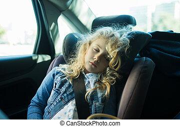 かわいい, 自動車, 睡眠, ブロンド, 席, 女の子