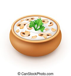 Ceramic Pot of Sauce with Parsley and Champignons - Ceramic...