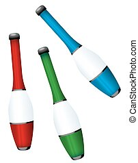 Juggling Clubs Colorful Set - Juggling clubs -...