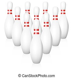 Bowling Pins Position - Bowling pins - starting position -...