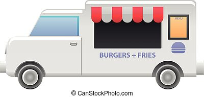 Burger food truck vector icon - Vector illustration of a...