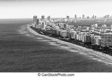 Black and white aerial view of Miami Beach skyline, Florida - USA