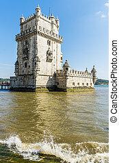 Torre of Belem at sunset, famouse landmark of Lisbon,...