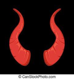 vector illustration of red Devil horns isolate on black...