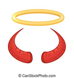 vector illustration of red Devil horns and nimbus isolate on...