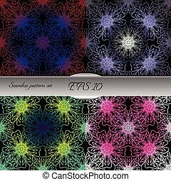 Set of lace-like seamless patterns