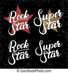Set of rock star tee print.