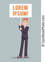 Event Demonstration Poster Stand Businessman Character Icon...