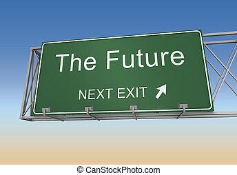 future road sign 3d illustration - future road sign 3d...