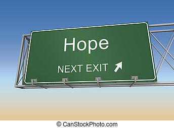hope road sign 3d illustration