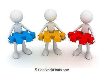 teamwork puzzle concept 3d illustration - teamwork puzzle 3d...