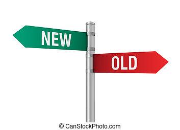 old new road sign 3d illustration