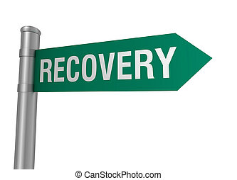 recovery road sign 3d illustration
