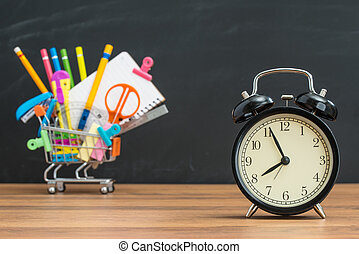 education time for student Back to School with alarm clock,...