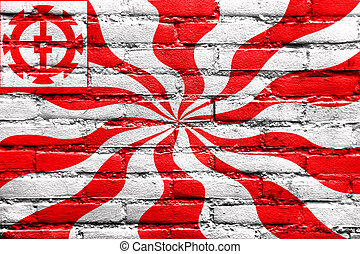 Flag of Mulhouse, France, painted on brick wall