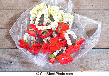 Flower garlands for Buddha ,Thailand - Flower garlands for...