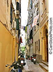 Narrow corfu street - Narrow street in old downtown of Corfu...