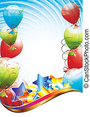 Birthday party template - Colorful brightly backdrop with...
